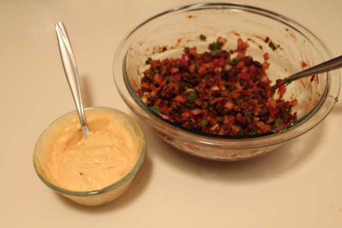 Spicy Black Bean Mash and Chipotle Mayo