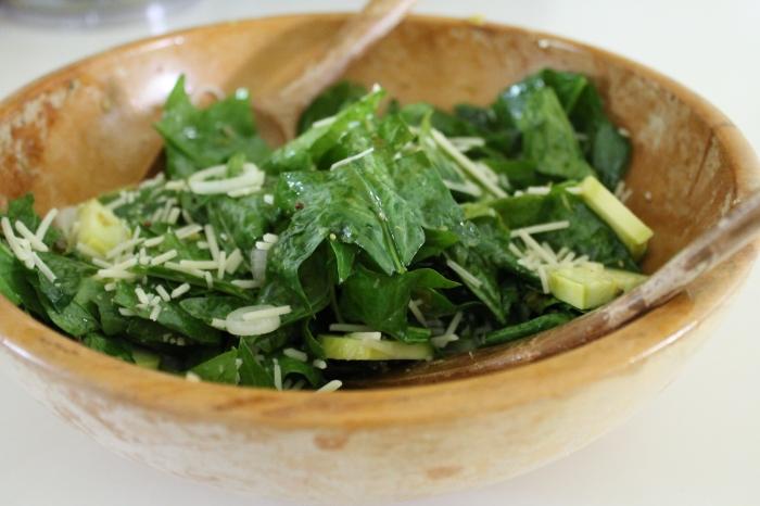 Loose Leaf Salad with Warm Garlic Scape Vinaigrette