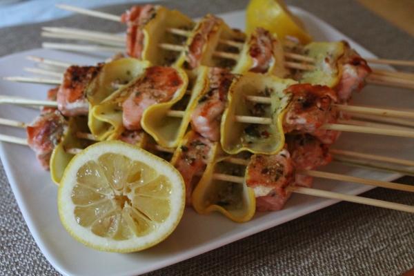Salmon-Squash Kebabs