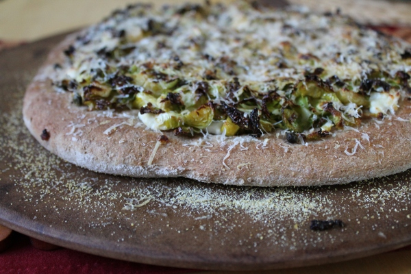 Brussels Sprouts and Capers Flatbread Pizza