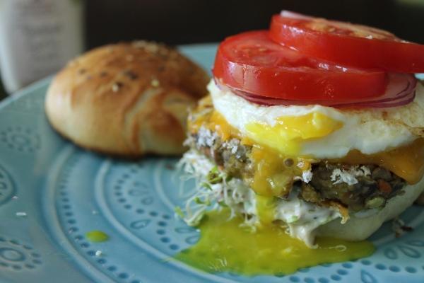 Panko Lentil Burger with Fried Egg
