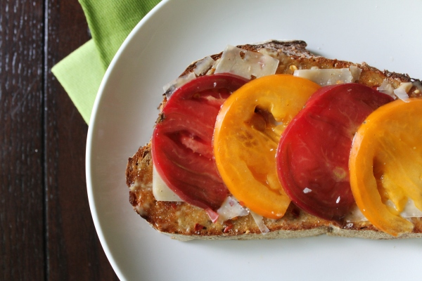 Tomato Tartine with Truffle Salt