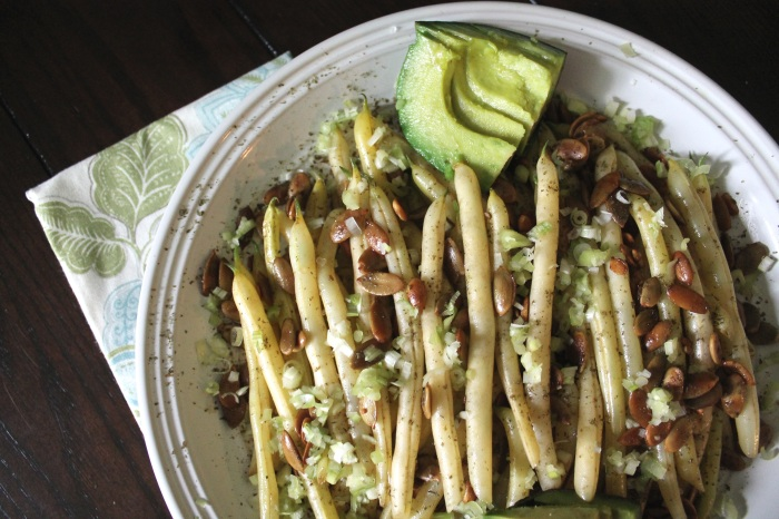 Wax Beans with Pepitas and Scallions