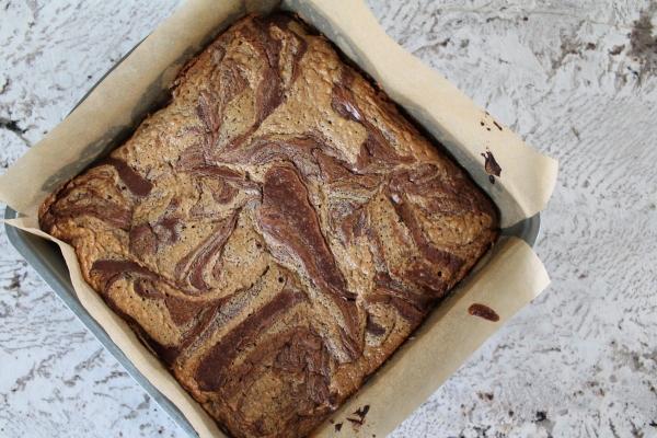 Salty Peanut Butter Swirl Brownies