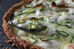 Zucchini and Goat Cheese Quiche with Cracker Crust