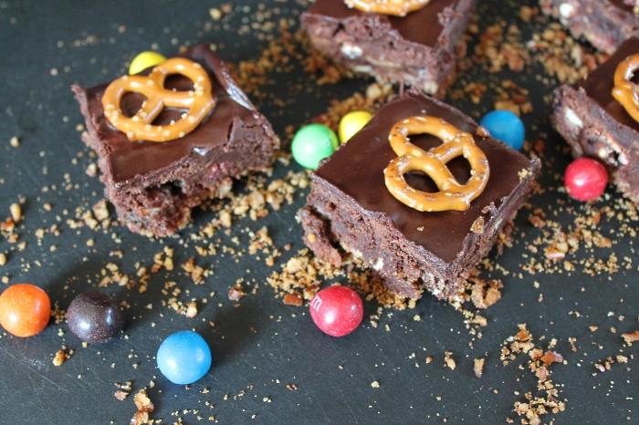 Double Pretzel Brownies