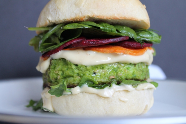 Monster Green Pea Burgers with Roots and Greens