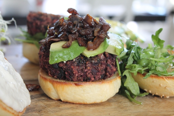 Beet Burger with Caramelized Onions